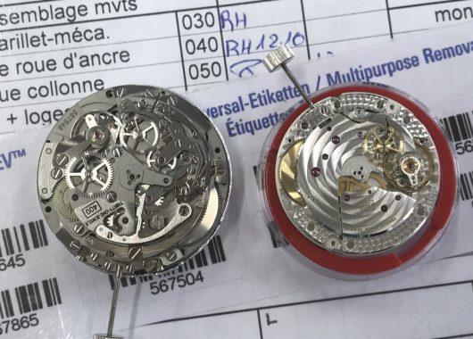 Balra egy cal.400 El Primero szerkezet, jobbra egy kismásodperces, holdfázisos cal.692.