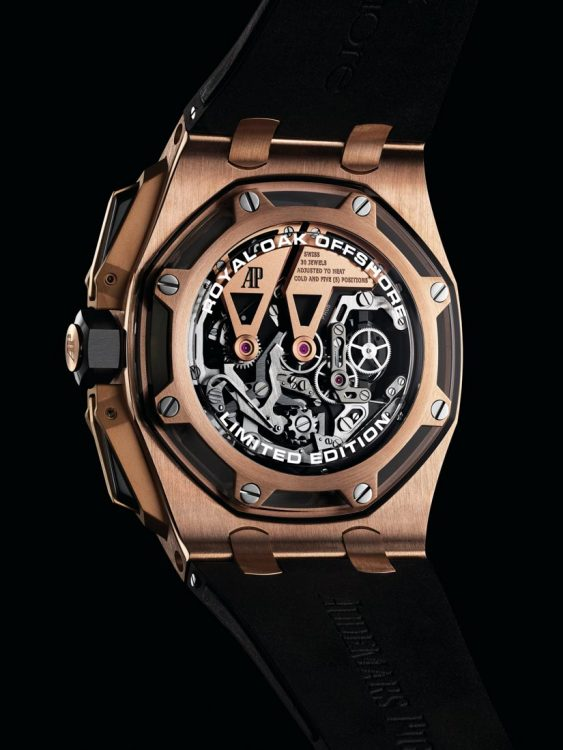 Royal Oak Offshore Tourbillon Chronograph 26421 - 25th anniversary - 45 mm átmérő, 16,1 mm vastagság. Új kialakítású tok, tourbillon kronográf szerkezet. Az Offshore-ok Offshore-ja.