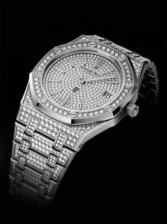 Royal Oak 15202BC-ZZ. Rengeteg gyémánt, automata szerkezet, 39 milliméteres tok.