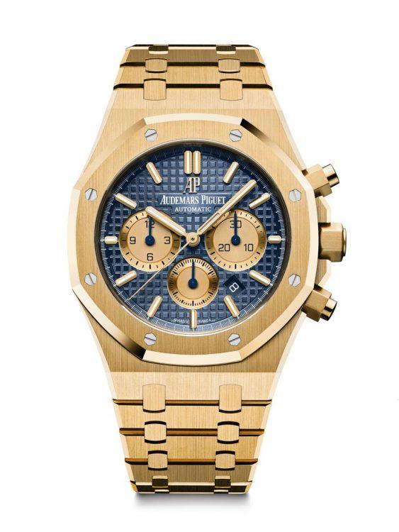 Royal Oak 26331BA - Chronograph. 41 milliméteres,18 karátos sárga arany tok, kék számlap.